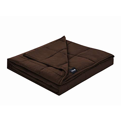 ZonLi Cotton Weighted Blanket 25 lbs(60''x80'', Queen Size, Brown), Best Weighted Blanket for Adults, 100% Cotton Material with Glass Beads