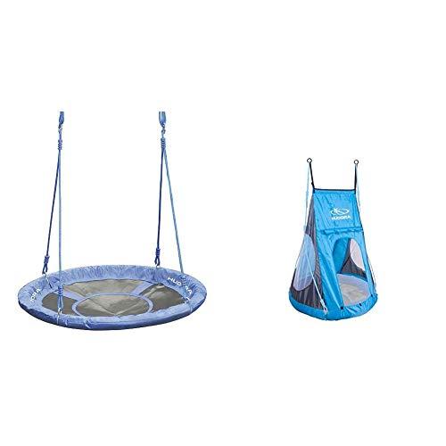 HUDORA Nestschaukel 90 cm, blau - Garten-Schaukel bis 100 kg belastbar - 72126 & Zelt für Nestschaukel 90 cm Cosy Castle - Garten-Schaukel, 72154