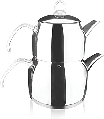 Destalya Teapot Set Turkish Tea Kettle Stovetop Warmer Tea Maker 18/10 Stainless Steel (Sude Mini Metal)