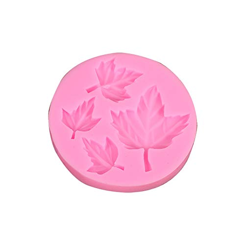 Monbedos Silicone Maple Leaf Fondant Chocolate Cake Mould Small Pastry Moulds Kitchen Baking,Pink