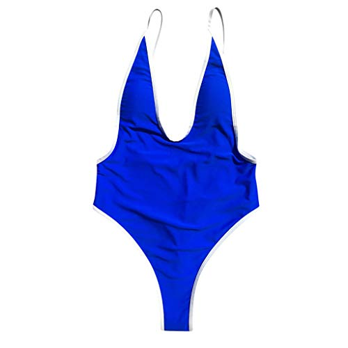 IZHH Bikini One Piece Damen V-Ausschnitt String Bikini Monokini Badeanzug Bademode Bade Beachwear(Blau,Medium)