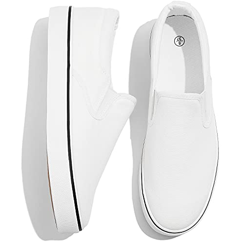 Adokoo Women's Fashion Sneakers Slip on Sneakers Casual Shoes (US8,White)