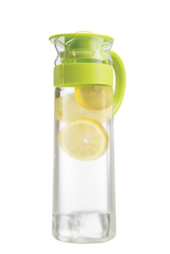 Komax Aqua Glass Water & Juice Pitcher With Easy Handle to Pour - Green lid - BPA FREE - Compact Size 47.3 oz. (1.4 L.) for Hot or Cold