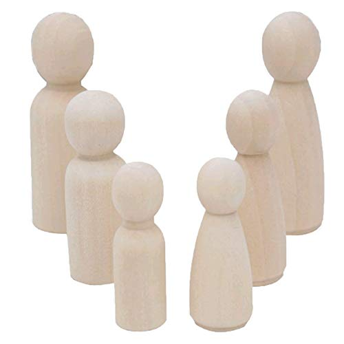 Mengger Figurenkegel holz Familie Figuren Holzfiguren Spielfiguren Zum Bemalen Basteln Puppen Spielfiguren Mann Frau Junge Mädchen Kinder 30 Stück