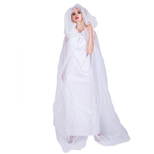 EraSpooky Damen Halloween Weiß Ghost Kostüm Geist Kleid mit Kapuze Robe