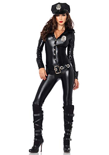 Leg Avenue Women's 4pc.Officer Payne,Lame Jumpsuit,Badge,Belt and hat, black, Medium