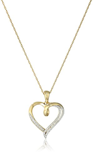 18K Yellow Gold over Sterling Silver Diamond Heart Pendant Necklace (1/10 cttw), 18'