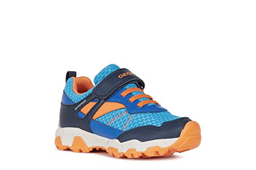 Geox Jungen Low-Top Sneaker MAGNETAR Boy WPF, Kinder Sneaker,lose Einlage,wasserdicht,Kinderschuhe,Blau (ROYAL/ORANGE),32 EU / 13 UK Child