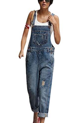 Huateng Moda para Mujer Pantalones Vaqueros desgarrados Bib Overol Peto Jeans Monos