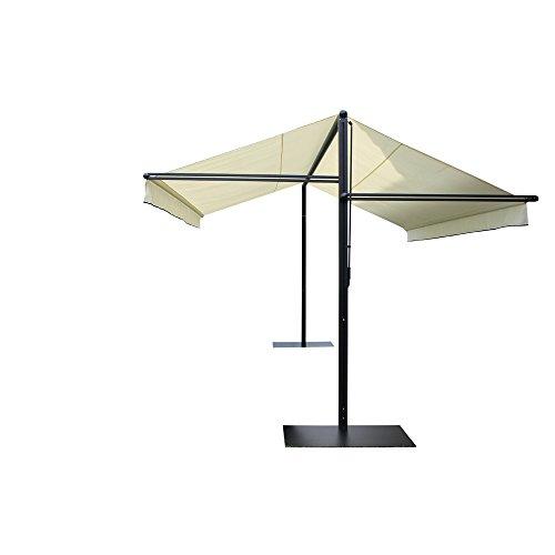 Leco 28100103 Design Doppelmarkise, Aluminium mit Pulverbeschichtung in anthrazit / schwarz / metallic, 100 % Polyester in natur - 4