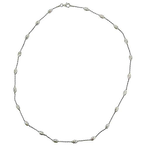 The Olivia Collection Toc Sterling Silver Oval Textured Bead Station Necklace 20'