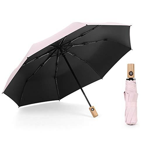 Opvouwbare golf paraplu, houten handvat, handgemaakt, auto open & close, windbestendig, sterk glasvezel, meervoudig opgevouwen, UV-bestendig voor mannen en vrouwen, buiten