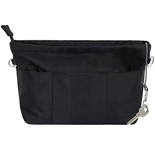 SHINGONE Handtaschen Organizer mit Schlüsselbund Taschenorganizer Wasserdicht, Innentaschen Fuer Handtaschen Organizer, Kosmetik Organizer mit Reißverschluss Schwarz -XS