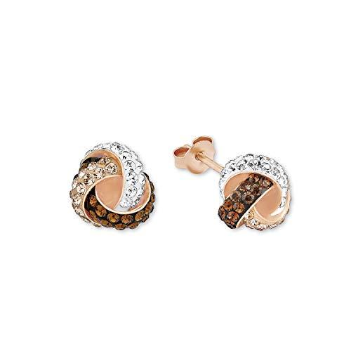 amor Ohrstecker für Damen 10 mm Knoten 925 Silber rosévergoldet veredelt mit Kristallen von Swarovski