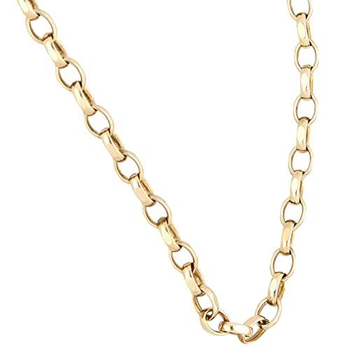 Jollys Jewellers Cadena Belcher de oro amarillo de 9 quilates de 47,6 cm de corte de diamante para mujer (4 mm de ancho) | Collar de lujo para mujer