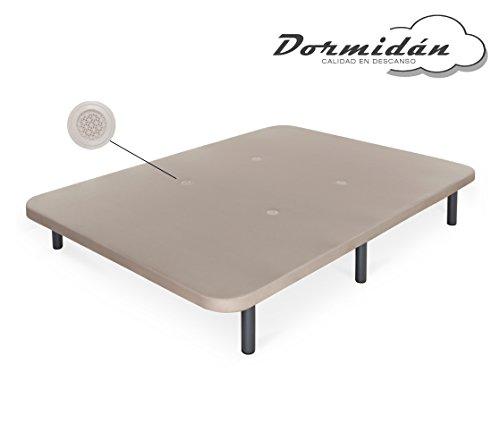Dormidán - Base tapizada con Tejido 3D y válvulas de aireación + 6 Patas Acero 30cm, Refuerzo Central, Medida 135x190cm