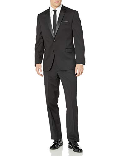 Calvin Klein Men's Modern Fit 100% Wool Tuxedo, Black, 42 Long