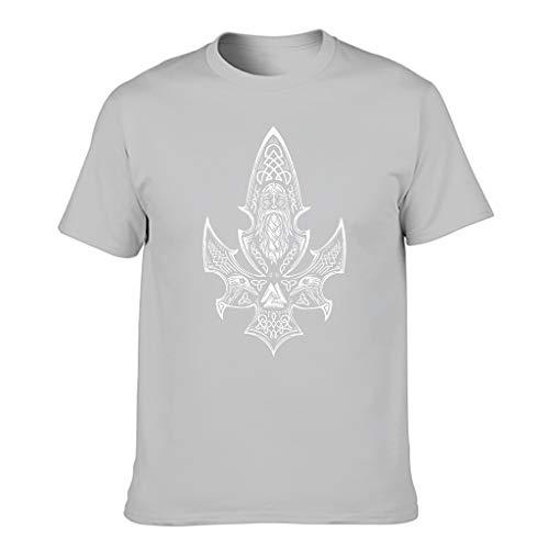 Camiseta de manga corta para hombre con diseño de vikingo Odin Valknut y cuervo celta con impresión de nudo celta, cómoda y activa. Gris plateado. XXXXXXL