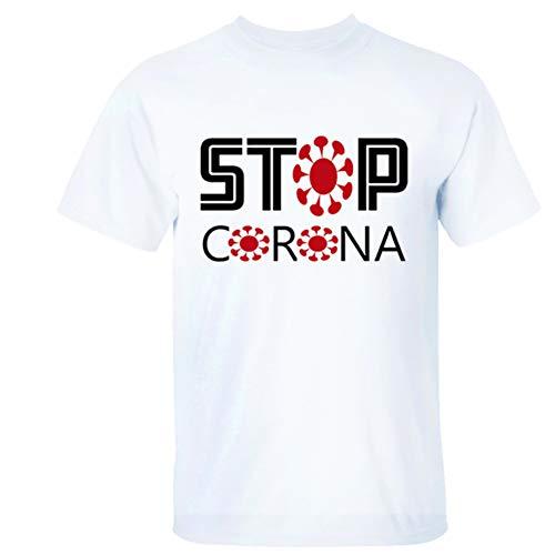 W&TT Uomo Donna novità Coronavirus Covid-19 T-Shirt di Avvertimento Girocollo Manica Corta Resistenza Corona Virus Magliette,Bianca,XXXL
