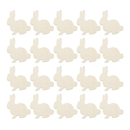 Amosfun Bunny Wooden Slices Easter Party Decorations Unfinished Wood Crafts Cutouts Wooden Easter Rabbit Party Decoration Easter Party Craft Decor Party Favors Supplies 20PCS