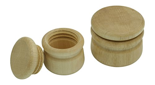 GICO Döschen aus Holz mit Deckel neutral mit Schraubverschluss zum selber gestalten, Holzdose Natur (2er Set) 7000-7002