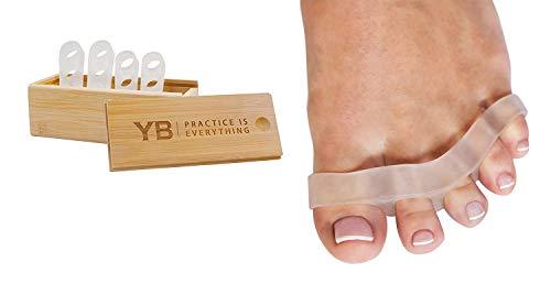 Yogabody Awesome Toes! Separatori per dita del piede–Due paia in un'elegante scatola di legno – Silicone senza lattice utilizzate durante la notte, lo yoga e la corsa