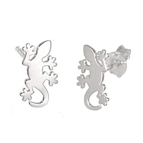 Sterling Silver Jewellery: Small Flat Gecko/Lizard Stud Earrings (6mm x 11mm) (E321)