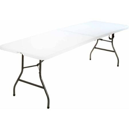 8' ft Centerfold Table, White 36.5' x 29.6' x 3' Folded for Easy Storage by: Cosco