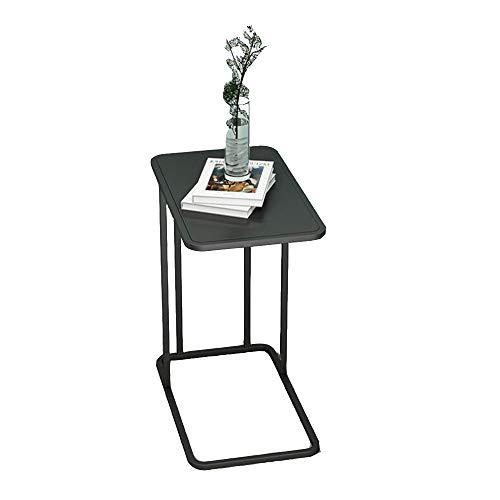 YNN Table Mesa de Exterior Mesa de Centro de Hierro Forjado Simple Apartamento pequeño Sala de Estar Sofá Mesa Auxiliar Dormitorio Mesita de Noche 50x30x58cm (Color : Black)