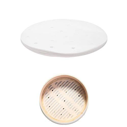 PPX Dim Sum Papel para el Vapor de bambú Antiadherente Bajo la Estera de Vapor de cocción de Papel de Cocina del Restaurante Accesorios (20.3cm)