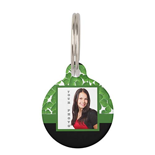 SLobyy Stainless Steel Pet ID Tags, Dog Tags, Cat Tags, Green Shamrock Instagram Template Pet Name Tag for Dogs and Cats