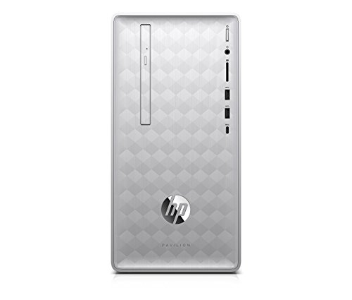 HP Pavilion Desktop Computer, AMD Ryzen 5 2400G, 8GB RAM, 1TB hard drive, Windows 10 (590-p0040, Silver) (Renewed)