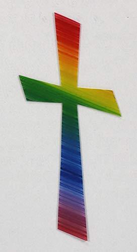Wachsmotiv Kreuz, regenbogen 11 x 5 cm - Wachskreuze für Kerzen - 9692 - Zum Kerzen gestalten und basteln.