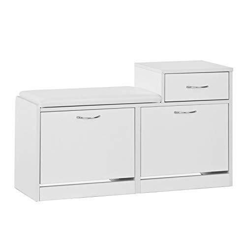 SoBuy FSR17-W Schuhbank mit Sitzkissen Sitzbank Schuhregal Schuhschrank Schuhtruhe mit Zwei Schuhfächern und Einer Schublade weiß BHT ca.: 94,5x57x31cm