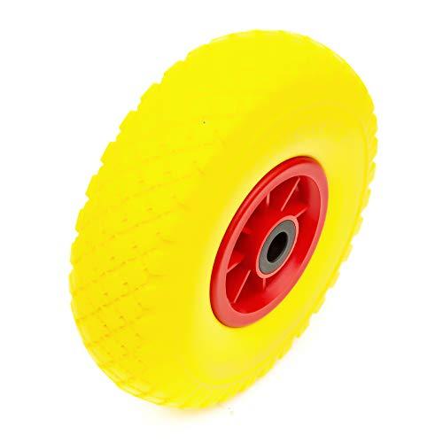 Rueda &10 Inch PU Sólido a Prueba de Pinchazos Neumático 3.00-4 300x4 & Rodamientos Jardín Remolque/Carrito
