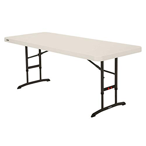 Lifetime 80565 Adjustable Height Folding Utility Table, 6-foot, Almond
