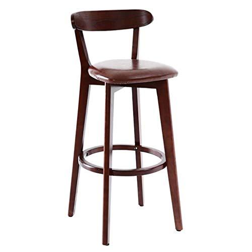 NUBAOgykongtiao Silla de comedor, taburete de madera para silla de comedor, respaldo de cuero marrón, silla de comedor, desayuno, cocina, bar café (color: madera, tamaño: altura del asiento: 81 cm)