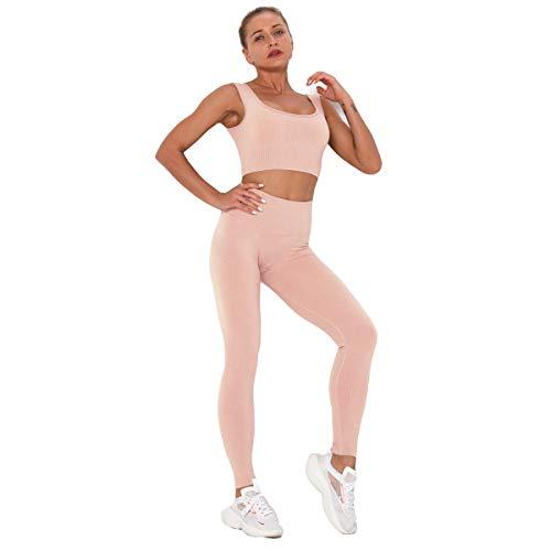 U/A Señoras a Rayas de Secado rápido Yoga Wear Beauty Back Set Deportes Profesionales Running Seamless Fitness Bra Set Fitness Sports Leggings