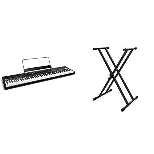 Alesis Recital - 88-Tasten Einsteiger Digital Piano Keyboard mit halbgewichteten Tasten & Classic Cantabile Doppelstrebiger Keyboardständer - 5-Fach höhenverstellbares Keyboard Stativ