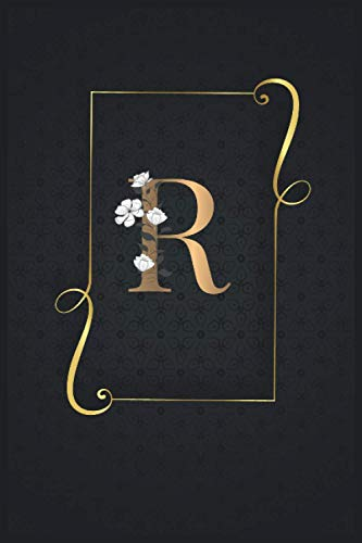 R: Monogram initial R Notebook Journal with Black and Gold cover for men and women , blank lined Notebook, 120 pages - 15 x 23 cm, bullet journal ... monogramma nero e oro (Italian Edition)