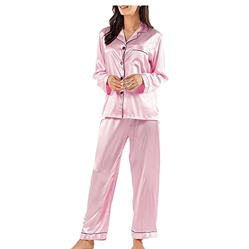 Ensemble de Pyjama pour Femme, v¨ºtement de Nuit en Soie satin¨¦e ¨¤ Manches Longues et Chemise de Nuit de Couleur Unie ¨¤ Boutons