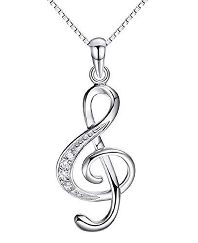 Collana Chiave Di Violino Donna Ciondolo Nota Musica Idea Regalo Ragazza Unisex Collanina Colore Argento