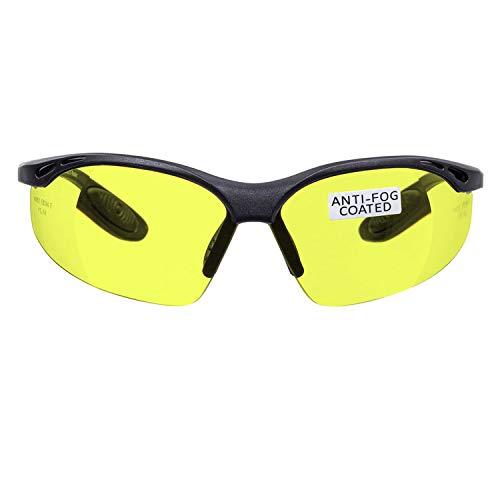 voltX 'Constructor' Schutzbrille Volle Linsenvergrößerung (Nicht bifokal) +1,50 Dioptrien– Gelb, LESERSCHUTZBRILLE Vergrößerung linse Schutzbrille mit Lesehilfe + Anti Fog UV400 Linse