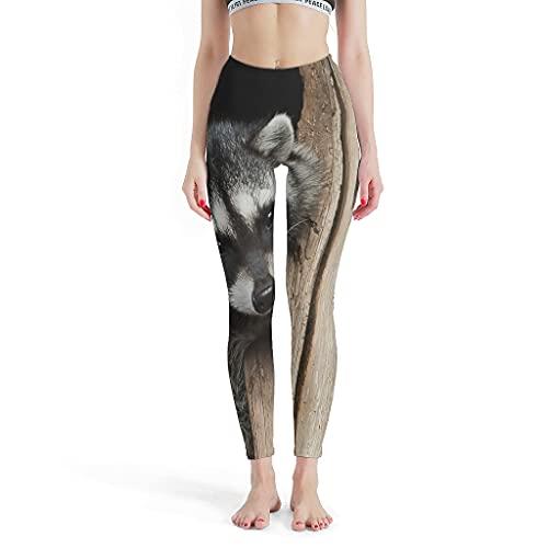 Annlotte Leggings elásticos para mujer, diseño de mapache, pantalones de yoga para entrenamiento blanco XS