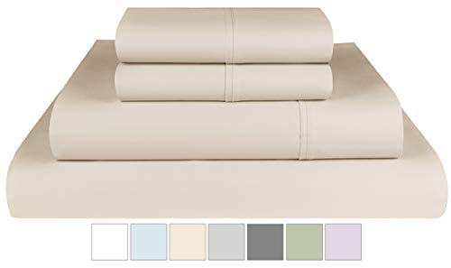 Threadmill Home Linen 400 Thread Count 100% Extra-Long Staple Cotton Sheets,Twin XL Sheets, Luxury Bedding, Twin XL Sheets 3 Piece Bedsheet Set,Smooth Sateen, Beige