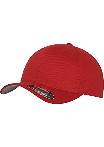 Original Flexit Baseball Cap Wooly Combed im Bundle mit Bandana | Rot | Gr. Youth