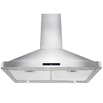AKDY Wall Mount Range Hood Stainless-Steel Hood Fan for Kitchen - 3-Speed Professional Quiet Motor - Premium Touch Control Panel - Modern Design - Mesh Filter & LED Lamp
