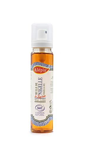 Alepia: Huile de Nigelle Syrie 100ml; 100% Naturel, Cosmos NAT certifié, utilise pour cheveux, Visage & Corps; Anti-infectieuse & anti-inflammatoire