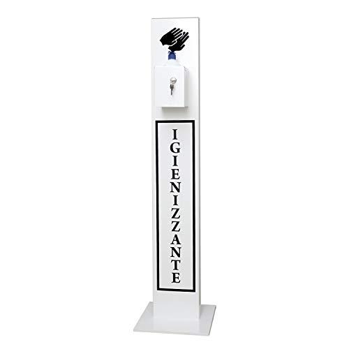 Staande lamp voor desinfectiemiddelen, kolom met handmatige uitgave voor hygiënische gel voor handen, anti-diefstalsysteem, gemaakt van staal 20/10, gelakt, voor professioneel gebruik Bianco Ral 9016