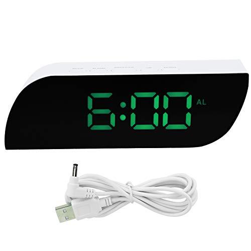Reloj LED con Espejo, USB o AAA, con Pilas, Reloj Digital LED, para el hogar del Dormitorio(Green, Pisa Leaning Tower Type)